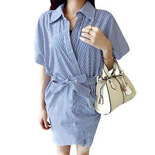 Women Point Collar Crossover Front Dolman Sleeves Self Tie Waist Wrap Dress
