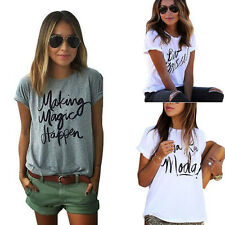 Fashion Summer Tee Letters Printed Short Sleeve Casual Crew Neck Loose T-shirt