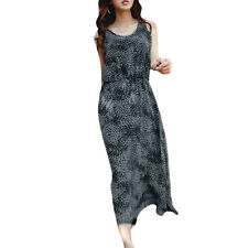 Lady Scoop Neck Sleeveless Leopard Prints Casual Mid-Calf Dress
