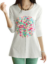 Women Dots Pattern Round Neck Long Sleeve Casual T-shirt