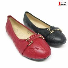 Womens Red Black Slip On Casual Faux Leather Ballet Buckle Checkered Flats Shoes