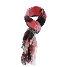 Ladies Chic Contrast Color Fringed Hem Knitted Long Scarf