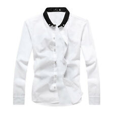 Man Fashion Point Collar Long Sleeve Button-Front Casual Shirt
