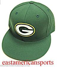 Green Bay Packers NFL Reebok Flat Bill Visor Logo Hat Cap Solid Green Fitted