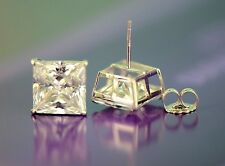 14k Heavy Basket White Gold Square AAA Quality CZ Stud Earrings with Push Back