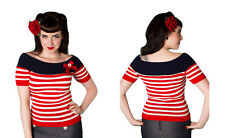 Nautical 50s Rockabilly Top, Vintage, Retro, Pinup, Burlesque XS-XL Stunning Red