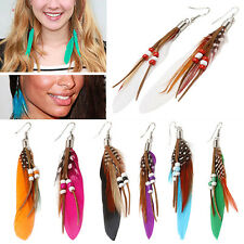 Striking Women's Jewelry Handmade Earrings Goose Feather Dangle Hook Eardrop