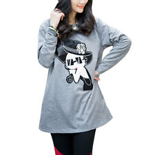 Maternity Cartoon Applique Long Sleeves Round Neck Pullover Loose Tunic Tops