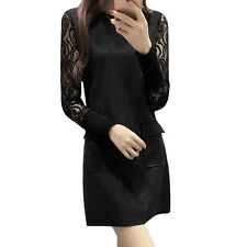 Lady Crew Neck Semi Sheer Sleeves Lace Panel Tunic Dress