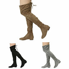 WOMENS LADIES LOW HEEL HIGH OVER THE KNEE BOOTS SHOES SIZE 3-8