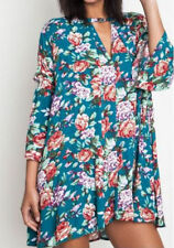 S-M-L Umgee Jade Floral Dress Trapeze Swing Cut Boho Chic Bell Sleeve Tunic