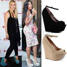 WOMENS LADIES ANKLE HIGH PLATFORM WEDGE HEEL STRAP PEEPTOE SANDAL SHOES SIZE