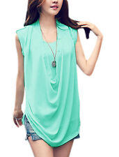 Lady Chic Cowl Neck Sleeveless Casual Layered Blouse