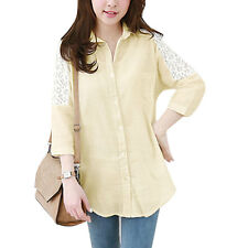 Woman Lace Panel One Chest Pocket Batwing Sleeves Round Hem Tunic Shirt