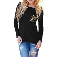 Women Boat Neck Long Sleeve Chiffon Panel Leopard Prints Casual T-Shirt