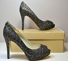 NIB MICHAEL KORS YORK PLATFORM ANIMAL CHEETAH GLITTER HIGH HEELS SHOES SZ 9.5
