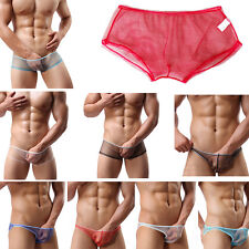 Men Underpants Transparent Mesh Sexy Boxers Shorts Briefs Knickers Underwear DW