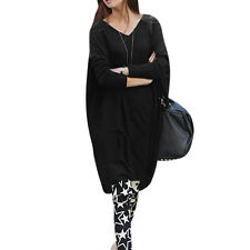 Ladies Pullover Long Dolman Sleeve V Neck Loose Casual Blouse