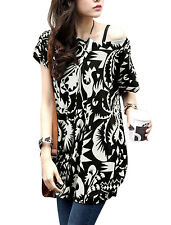 Woman Round Neck Short Sleeve Geometric Prints Novelty Prints Batwing Loose Top