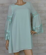 AFTER THE RAIN CHIFFON SHIFT DRESS-LACE BELL SLEEVES-SAGE-S-M-L