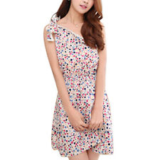 Women Pullover Elastic Waist Floral Dots Print One Shoulder Casual Dress