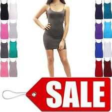 NEW WOMENS CAMISOLE STRAPPY VEST TANK TOP STRETCH SLEEVELESS LONG CAMISOLE VEST