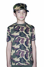 Boys Teens Army Green Camouflage Print T-shirt Fancy Dress All Sizes Available