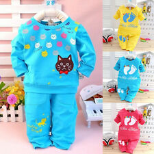 Kids Baby Outfits Toddler Infant Suits Tops T Shirt Pants Print Trousers 2PCS B9