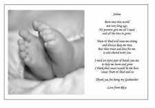 Personalised Christening Poem gift Thanks being my GODMOTHER / FATHER GODPARENTS