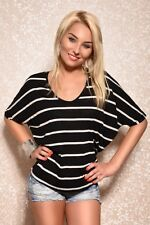 Ladies Stripes Big Shirt Stripes Short Sleeve T-Shirt striped Oversize 32 34 36