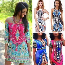 Sexy Womens Boho Aztec Bodycon Party Mini Short Shift  Dresses Cocktail Sundress