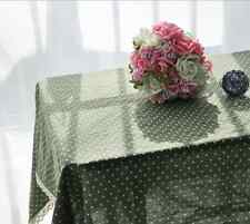 Elegant Green White Dots Dinning Coffee Table Cotton Linen Cloth Covering O
