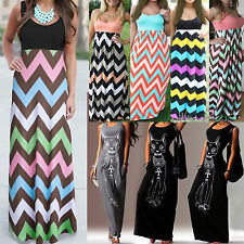 Summer Womens Long Maxi Beach Dresses Sleeveless Party Evening Loose Cocktail