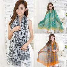 Women Girls Voile Vintage Persia veins Scarf Shawl Wrap Stole Soft Scarves 26