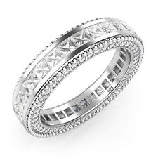 925 Sterling Silver Princess Cut Cubic Zirconia CZ Milgrain Eternity Band Ring