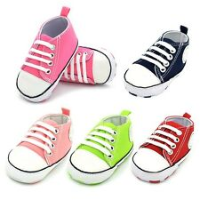 Baby Boy Girl Soft Sole Crib Shoes Laces Kid Childrens Canvas Non-Slip Prewalker