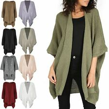Women Cape Cardigan Knit Top Batwing Waterfall Open Front Loose Poncho Sweater