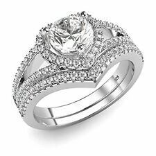 Sterling Silver 925 Cubic Zirconia CZ Heart Engagement Wedding Band Ring 2Pc Se