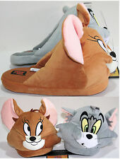 NEW TOM & JERRY ADULT Slippers PLUSH HOUSE SHOES WB HANNA BARBERA CAT MOUSE S-XL