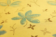 """Tan Brown Blue Floral Damask Upholstery Drapery Fabric By The Yard 54""""W"""