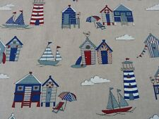 Beach Huts & Boats Fabric Seaside Nautical Linen Look Canvas for Crafts Bunting