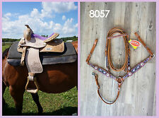 "12"" Western Youth Saddle Natural Med Oil Tooled PURPLE Suede Seat w HSBC option"