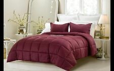 3pc Reversible Burgundy Solid and Emboss Striped Comforter Set FULL QUEEN KING