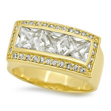 Mens 22mm Wide Cubic Zirconia Yellow 14k Gold Plated Ring with Mini-CZ Accents