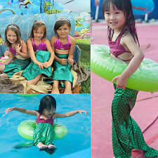 Girls 3Pcs/Set  Swimwear Swimsuit Mermaid Tails Cosplay Shell Bra Tails Bikini