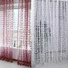 Hot Retro  Voile Leaf Theme Door Window Curtain Tulle Scarf Drape Sheer Valances