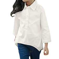 Girl Half Placket Asymmetric Hem Tunic Blouse