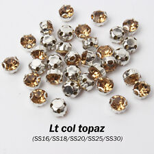 "Lt col topaz Rhinestone SS16 SS18 SS20 SS30 Sew on Claw ""D"" use for Garment"