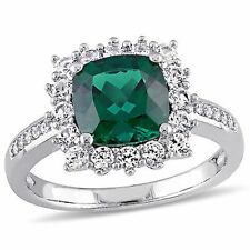 Sterling Silver Emerald White Sapphire and Diamond Accent Halo Cocktail Ring
