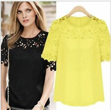 Plus Size 6-18 Womens Chiffon Lace Short Sleeve Casual T Shirt Blouse Top Summer